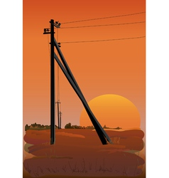 electric power lines at sunset vector image