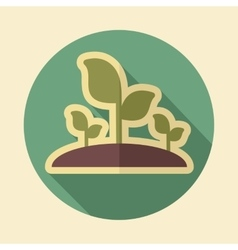 Plant sprout retro flat icon with long shadow vector