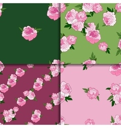 Seamless pattern set with pink peonies vector