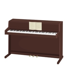 Brown upright piano with notes on white background vector