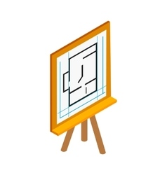 Flipchart with building plan icon vector