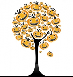 Halloween pumpkin tree vector