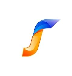 J letter blue and orange logo design fast speed vector
