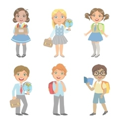 Sudents with school bags set vector