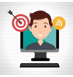 Man with computer isolated icon design vector