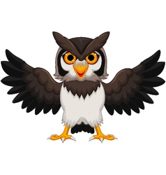 Cute owl cartoon waving vector image