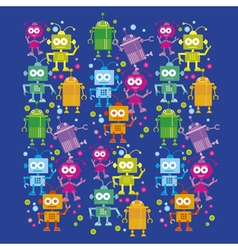 Colorful cute robot set on blue background vector