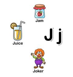 Alphabet letter j-jam juice joker vector