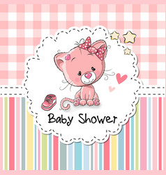 Baby shower greeting card with kitten vector