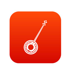 Banjo icon digital red vector
