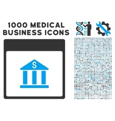 Bank building calendar page icon with 1000 medical vector