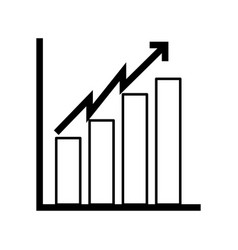 black icon bar chart vector image vector image