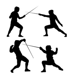 Black silhouette of fencing on a white background vector