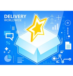 Bright delivery box and star on blue backgro vector