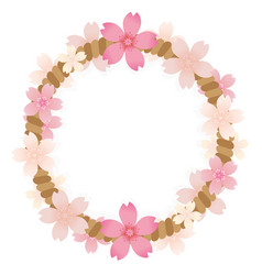 brown rope frame of pink blossom with isolated vector image