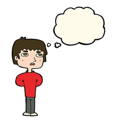 Cartoon unhappy man with thought bubble vector