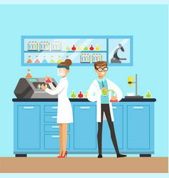 Chemists male and female testing chemical elements vector