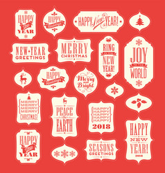Christmas and 2018 new year vintage designs vector