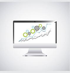 Economy growth desktop computer technology icon vector