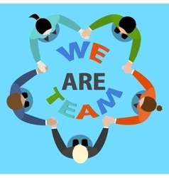 Friendly team circle hands vector image