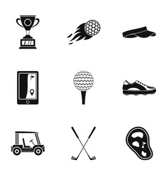 Golf equipment icons set simple style vector