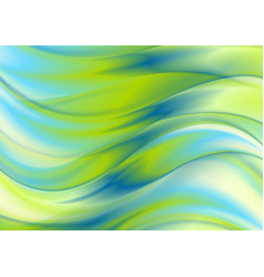 Green and blue blurred waves abstract background vector