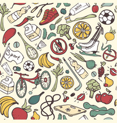 healthy lifestyle seamless pattern hand drawn vector image vector image