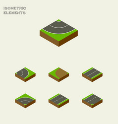 Isometric road set of plane road asphalt and vector