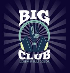 karaoke club audio record studio logo with vector image vector image