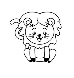 Line cute lion wild animal with face expression vector