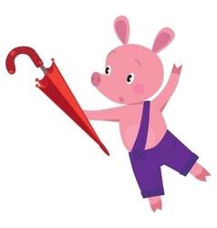 Little piglet with umbrella vector