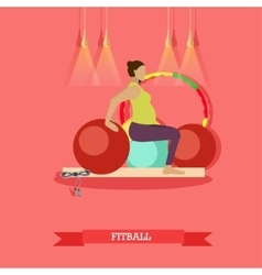 Pregnant woman doing exercises with fitball at vector