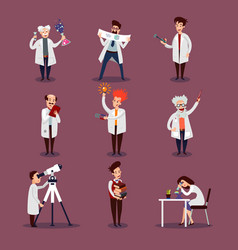 scientists characters set vector image vector image
