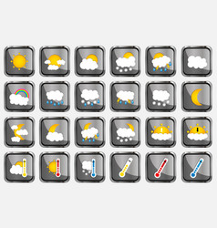 Set of 24 weather realistic metallic chrome flat vector