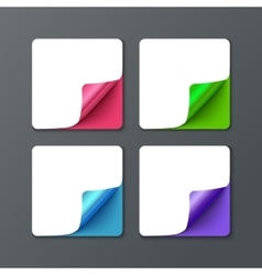 Set of square banner template with curl corners vector