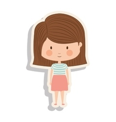 Silhouette girl with brown striped hair and shadow vector