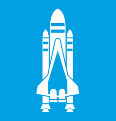 Space shuttle icon white vector