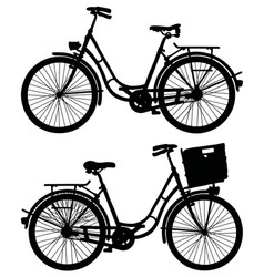 Two retro bicycles vector