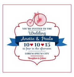 Wedding invitation card -vintage bicycle theme vector