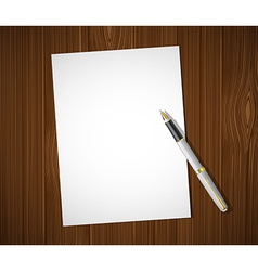 White sheet on a wooden table vector