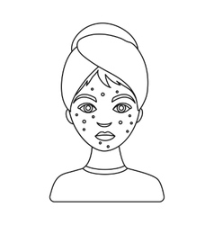 Woman with acne icon in outline style isolated on vector