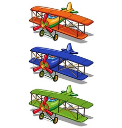 Airplane in three different colors vector