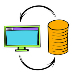 Computer monitor with pile of gold coins icon vector