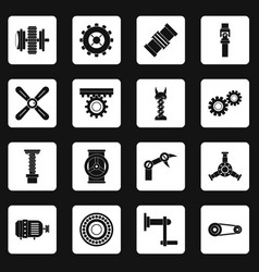 Techno mechanisms kit icons set squares vector