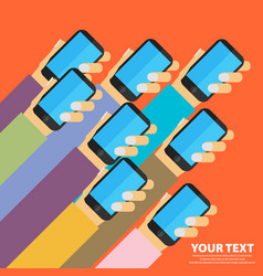 Mobile apps concept flat design human hand with vector