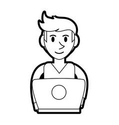 Person desk silhouette vector