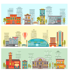 colorful cityscape horizontal banners vector image