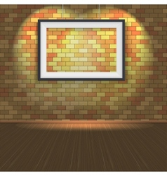 Brick wall with a empty frame and lighting vector