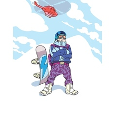 Happy snowboarder vector
