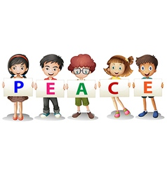 Kids holding the peace letters vector